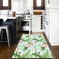 Еще тропические Белые Розовые цветы зеленый лист цветочный 3d принт Нескользящая микрофибра кухня современный декоративный моющийся коври...