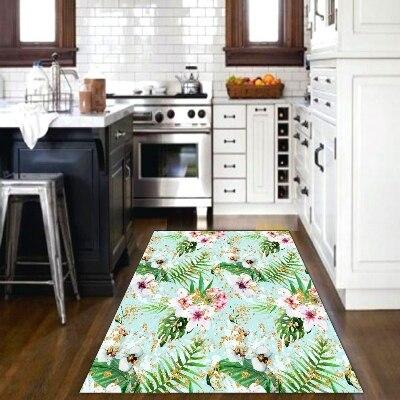 Else Tropical White Pink Flowers Green Leaf Floral 3d Print Non Slip Microfiber Kitchen Modern Decorative Washable Area Rug Mat