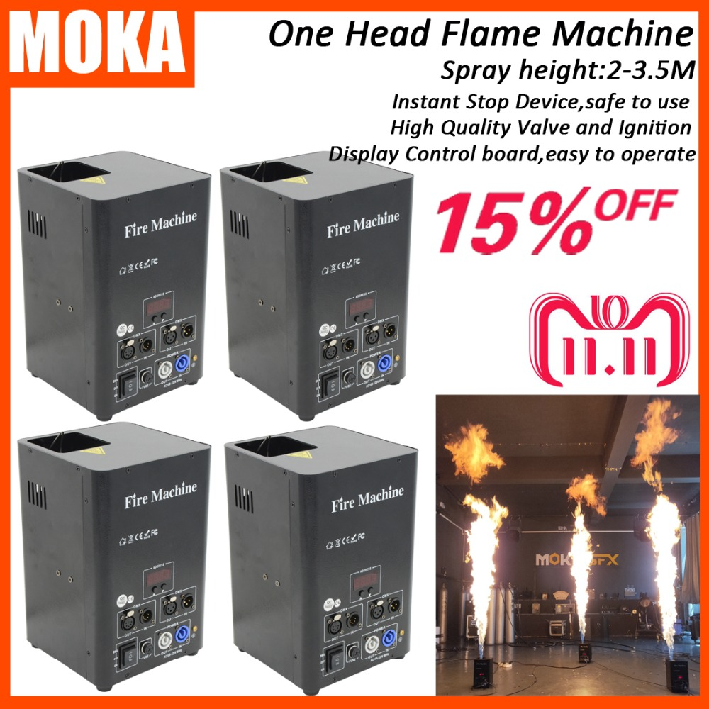 цена на 4 Pcs/lot one head stage effect fire machine dmx flame projector stage flame thrower outdoor flame machine with lcd display