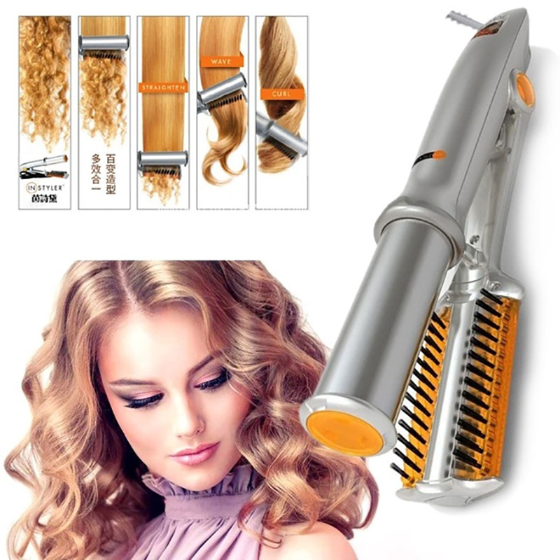 3 in 1 Hair Curler 2-Way Rotating Curling Straightening Iron