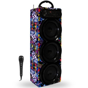 Wireless Bluetooth Karaoke Speaker with Microphone FM / USB / TF Card Rechargeable Battery Tower Speakers