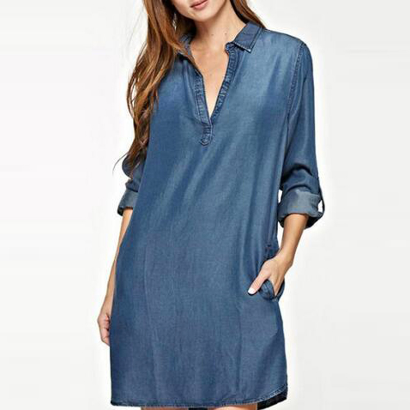 S-5XL Women Fashion V Neck Plunge Low Cut Sexy Denim Blue Jean Look Long Flod Sleeve Collared Mini Shirt Dress Vestido image