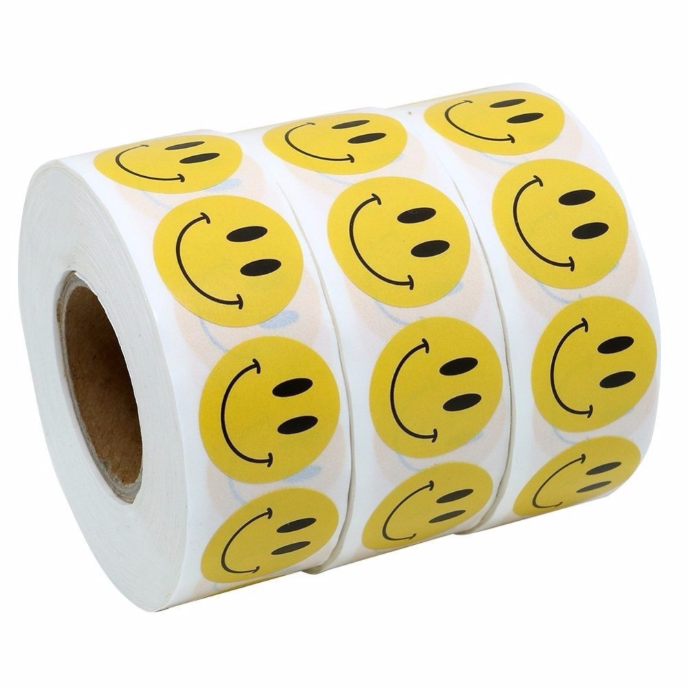 500 Labels on a Roll Yellow Circle Sad Frowny Face Stickers 1 Inch Round