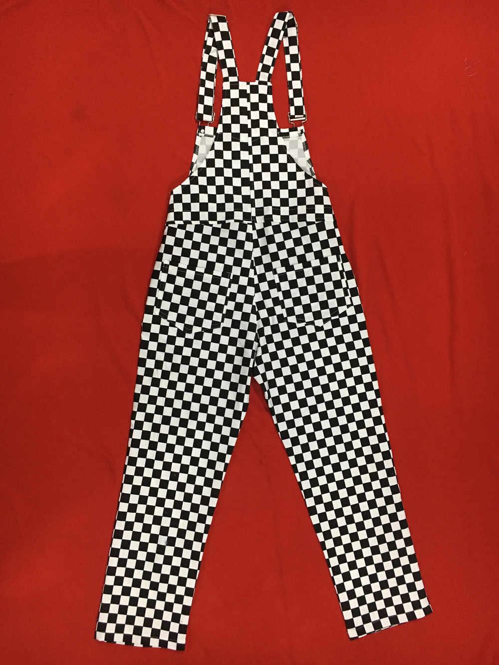 Размера плюс Kpop уличной моды Vintaget прямые широкие брюки, чистый хлопок, джинсовые штаны на подтяжках комбинезон клетчатый плед брюки