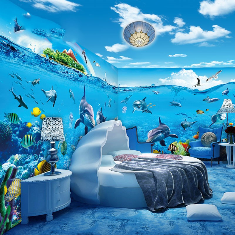 Wallpapers Youman Underwater World Wallpaper Theme Hotel Background Decoration Wallpaper Bedroom Ocean Baby Swimming Pool Mural custom mural 3d korean cuisine wallpaper leisure bar restaurant theme hotel snack shop background beverage food wallpaper mural