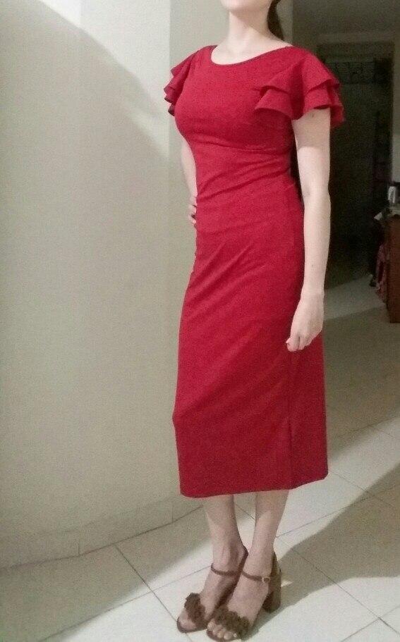 Red Layered Ruffle Sleeve Crisscross Back Bodycon Dress Women Summer Elegant Sleeveless Solid Slim Midi Party Dress photo review