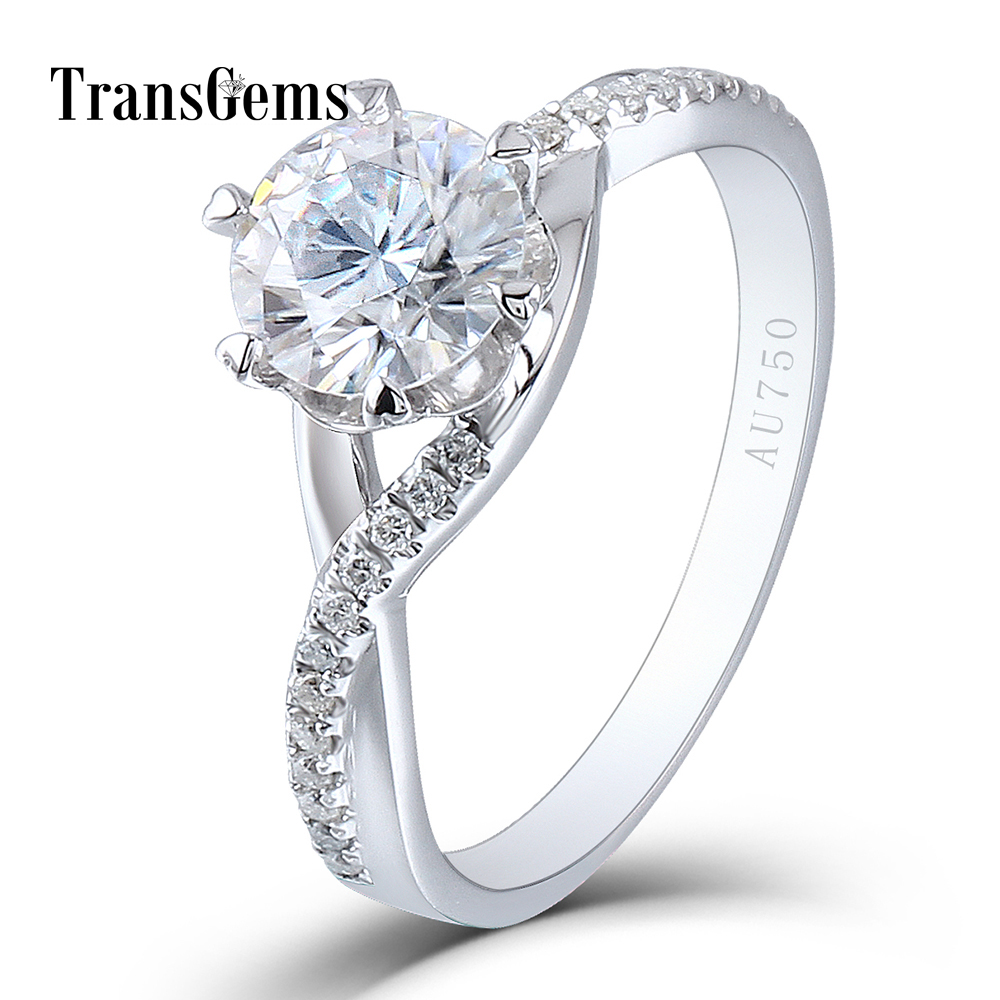 Trangems Solid 14K 585 White Gold 1 Carat Diameter 6.5mm F Color Lab Grown Moissanite Diamond Engagement Ring for Women