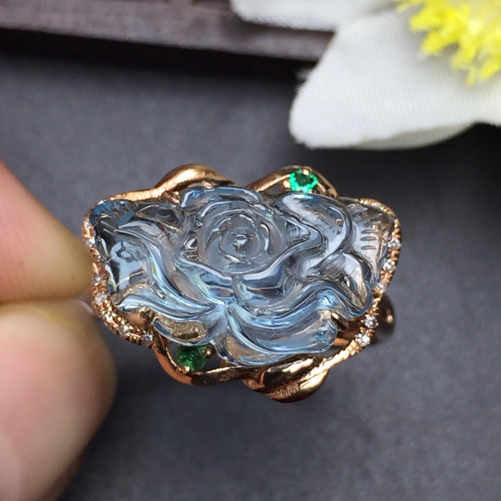 Fine Jewelry Customized Size Real 18K Rose Gold AU750 100% Natural Blue Topaz Gemstone Female Rings for Women Fine Ring