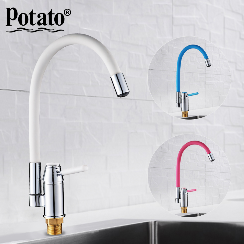 Potato 5 colors Kitchen Faucets Hot And Cold and Water Faucets Chrome Basin Sink Square Tap