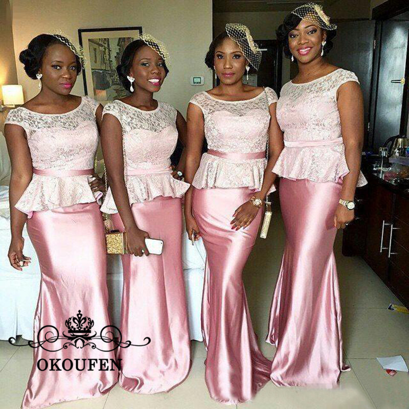 Fashion Mermaid Pink Lace Bridesmaid Dresses With Peplum 2018 ...
