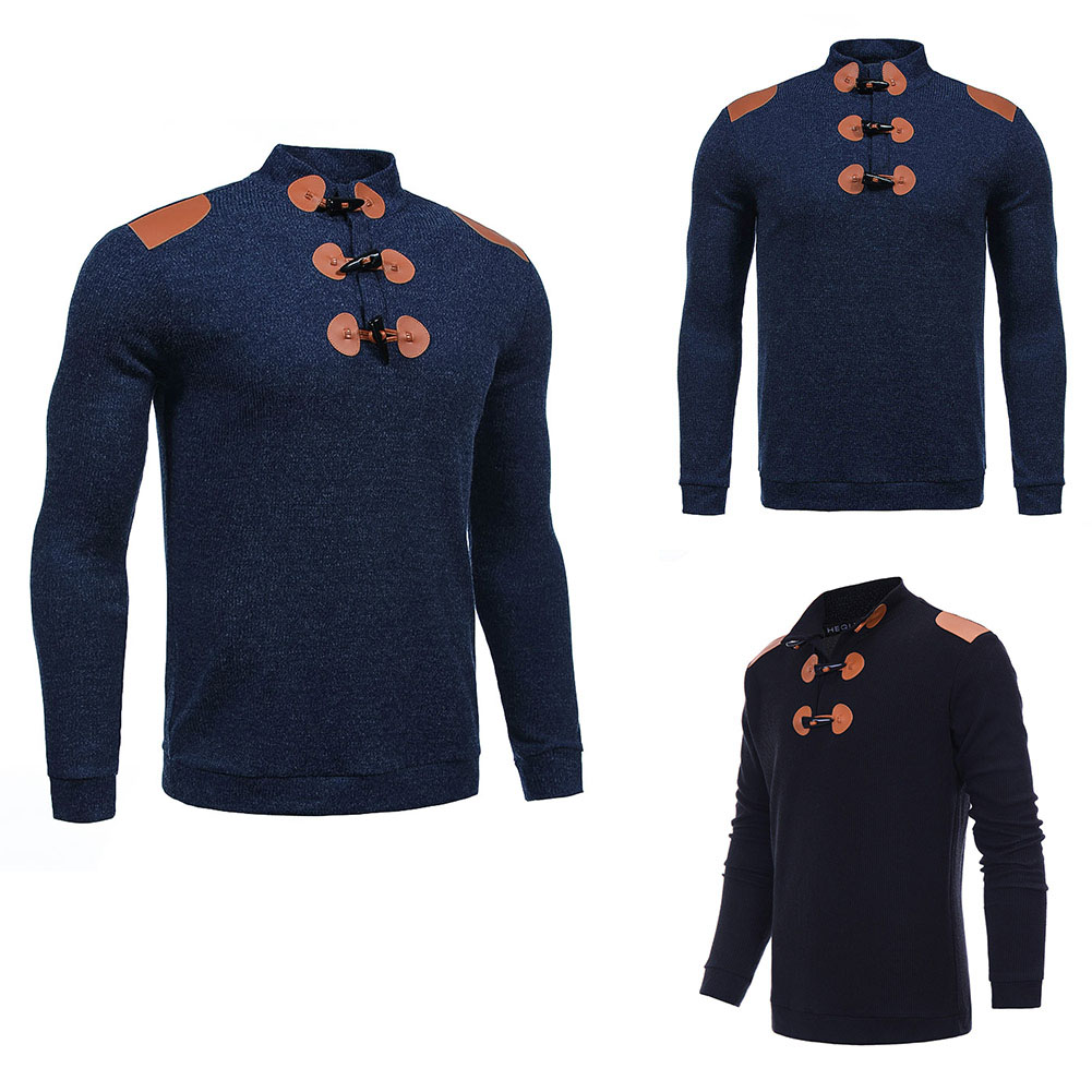 2017 Mens Autumn Winter Knitted Long Sleeve Sweater Fashion Pullover Horn Button Slim Sweater