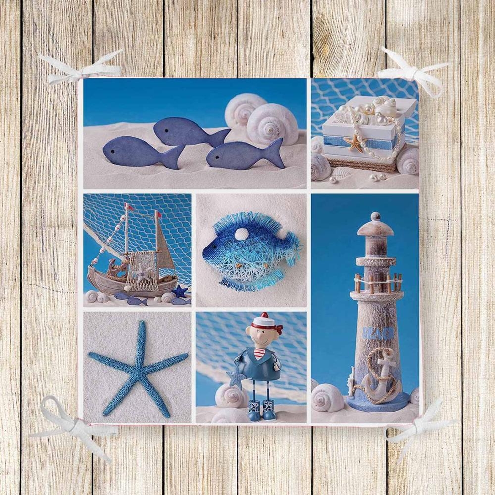 Else Blue White Sea Ship Lighthouse 3d Print Chair Pad Seat Cushion Soft Memory Foam Full Lenght Ties Non Slip Washable Zipper
