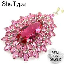 48x30mm Luxury Big 7.5g Pink Tourmaline Womans Wedding 925 Solid Sterling Silver Pendant