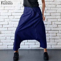 ZANZEA 2017 Autumn Women Fashion Zipper Button Elastic Waist Cross Pants Loose Denim Blue Drop Crotch