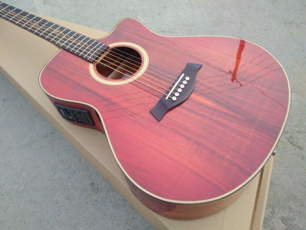free US directly ship custom shop cutaway guitar koa wood acoustic electric guitar nice folk guitar free shipping 2018 promotion jumbo cutaway acoustic guitars sj200 natural electric acoustic guitar