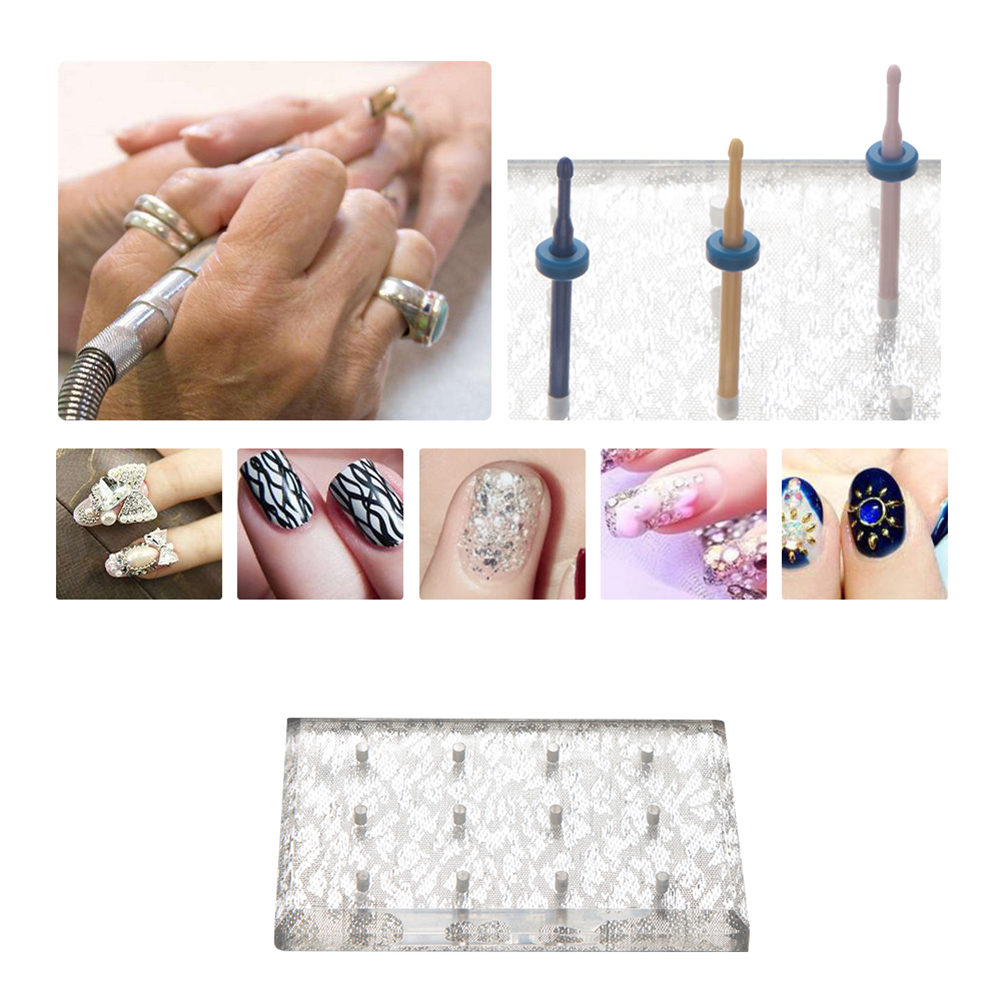 Nail Art Polishing Grinding Head Tool Display Stand Drill Bits Holder Base ...