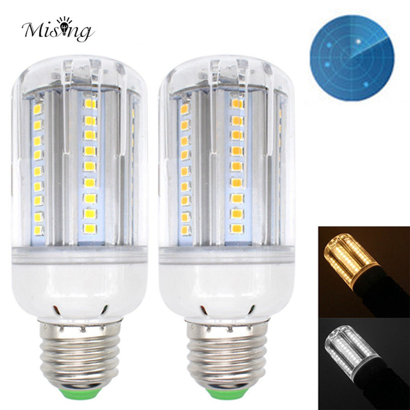 Mising E27 15W Pure White/Warmwhite Radar Sensor Light Control LED Light Bulb 1050LM SMD2835 72LED Light Lamp AC85-265V