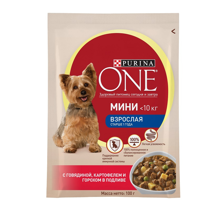 Фото - Wet food for dogs of small breeds Purina One Mini Adult with beef, potatoes and peas in gravy, Pouch, 24x100 g. thinkthendo women mini wallet coin purse pouch bag zipper card key holder casual polyester multifunction coin bags small new