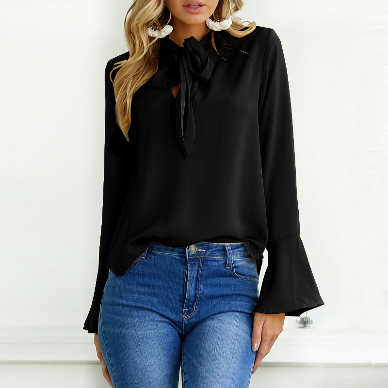 ZANZEA 2018 Blusa Long Flare Sleeve Loose Lace-Up Women Blouse Spring Retro Elegant Baggy Bow Tie Work Office Ladies Shirts Tops