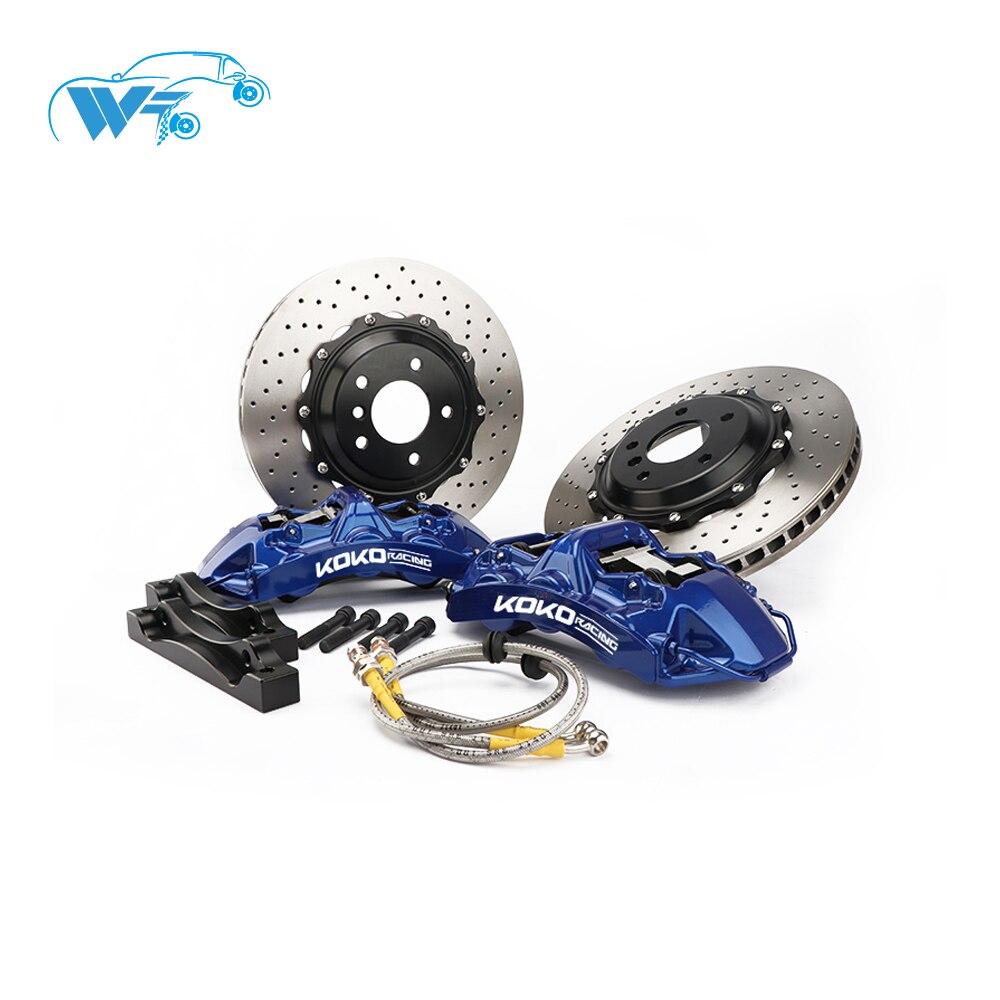 KOKO RACING étrier couvercle de frein GT6 voiture kit de frein avec bleu grand pot étrier ajustement avec 355/362mm disque de frein pour 2013 Ford Mustang