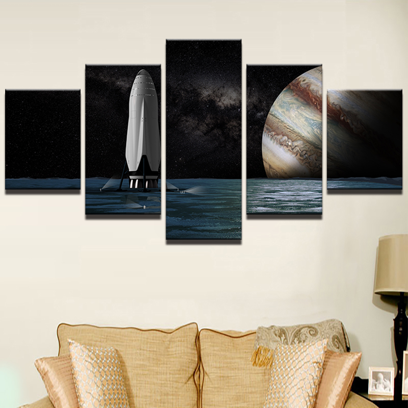 Canvas HD Print Pictures Living Room Framework 5 Pieces Starry Sky Planet Landscape Photo Painting Wall Art Bedroom Poster Decor in Painting Calligraphy from Home Garden
