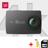 Бесплатная 64 г Xiaomi YI 4 к действие камера Ambarella A9SE мини камера для занятий спортом к/30 CMOS 2,19 ARM 12MP 155 градусов EIS LDC Действие Cam