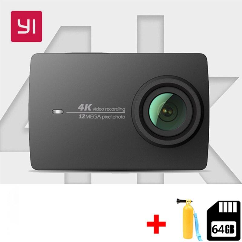 Livraison 64G Xiaomi YI 4 K caméra d'action Ambarella A9SE mini caméra de sport 4 K/30 CMOS 2.19 BRAS 12MP 155 Degrés EIS PMA Action Cam