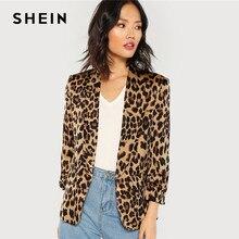 fc993ba9e4113 SHEIN Multicolor Shawl Collar Gathered Sleeve Leopard Blazer Elegant Casual  3/4 Sleeve Outerwear Women Highstreet Autumn Coat