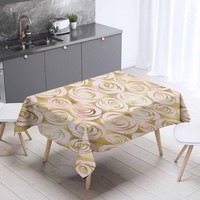 Else Gray Golden Yellow Rose Flowers Floral 3d Print Washable Thicken Cotton Cloth Rectangular Square Kitchen Tablecloth