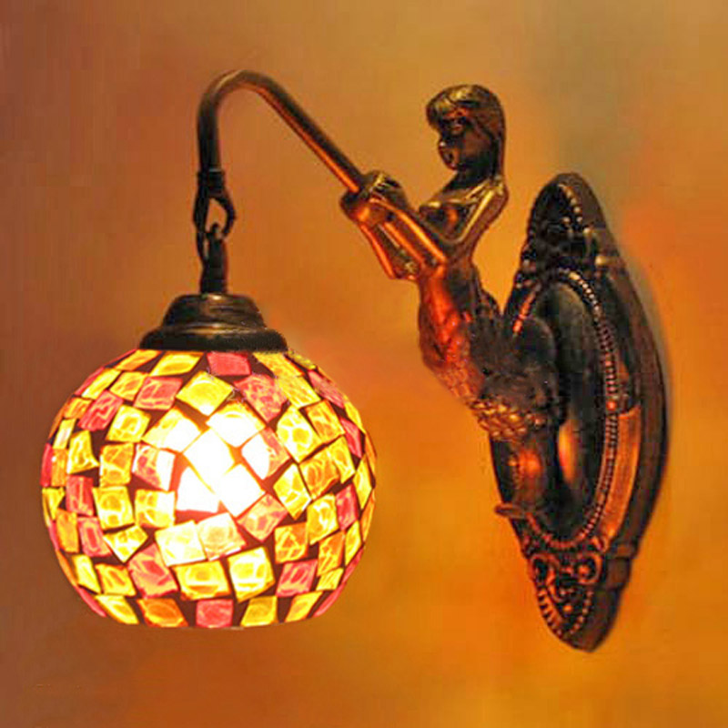 European style antique living room bedroom bedside wall headlights wall lamp  mosaic glass Mermaid fumat stained glass lamp european style antique chandelier complex classic living room hotel glass art lamp curtains beads lamp