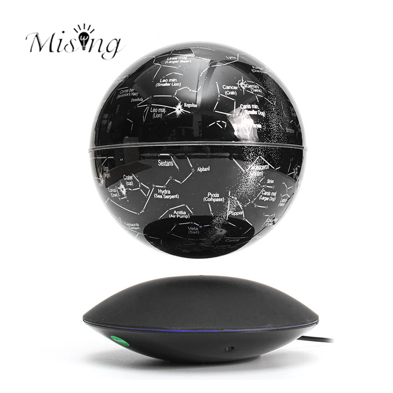 Mising 6 Inch Self-Rotating Magnetic Levitation Globe World Map Stars Colorful LED Light Gifts for In-Outdoor Home Decoration