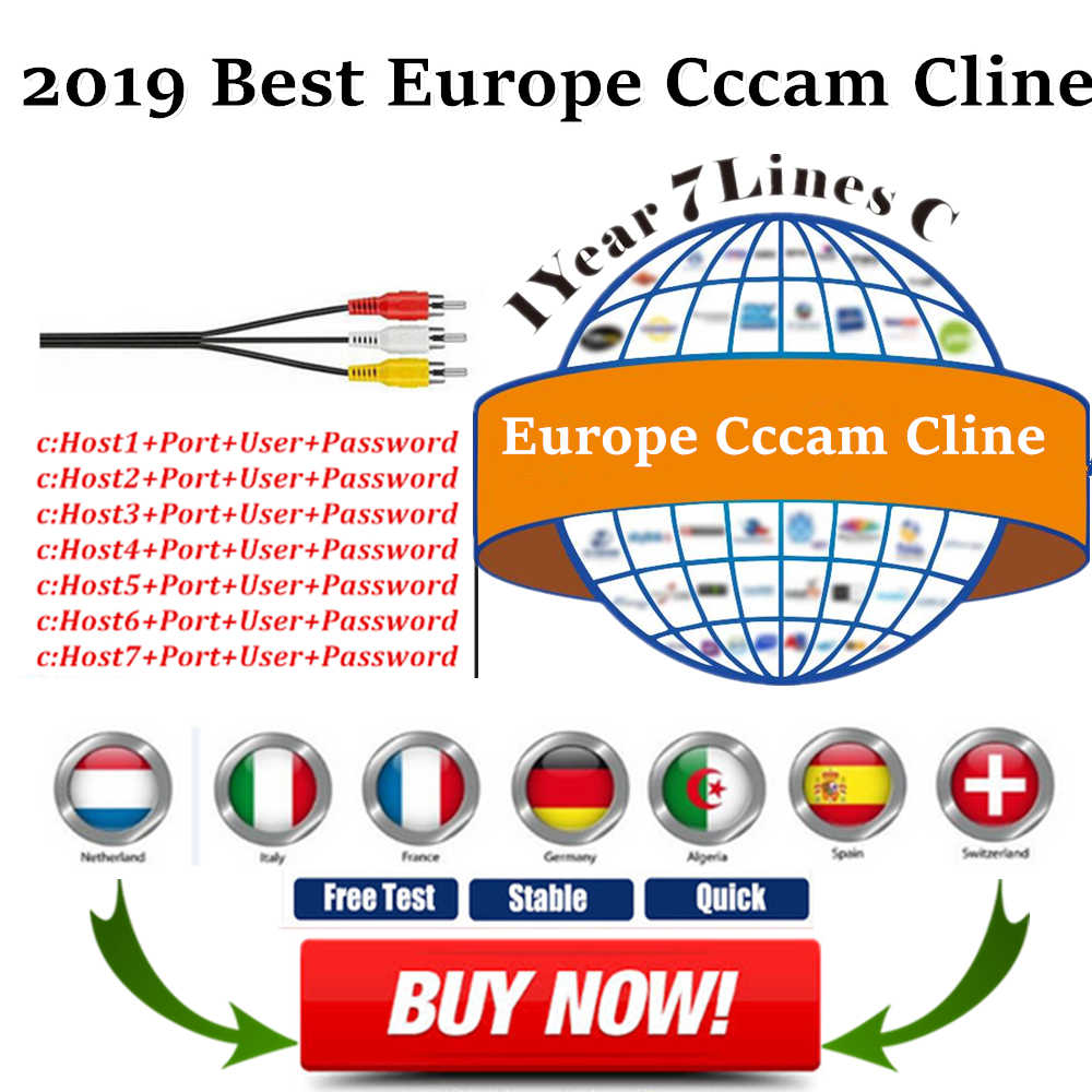 12 Months Europe Cccam Cline Server for 6/7lines Work in  DVB-S2 IKS Receptor Satellite decode with Portugal Spain Italy IPTV