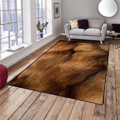 Else Brown Buffalo Fur Animal Design 3d Pattern Print Non Slip Microfiber Living Room Decorative Modern Washable Area Rug Mat