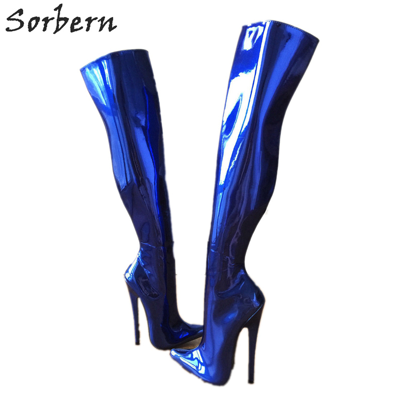 Sorbern Sexy Blue Metallic 65cm Hard Shaft Customized Wide Leg Over The Knee Boots For Women 18cm Stiletto Heels Boot Ladies elegant blue plunging neck sleeveless wide leg jumpsuit for women