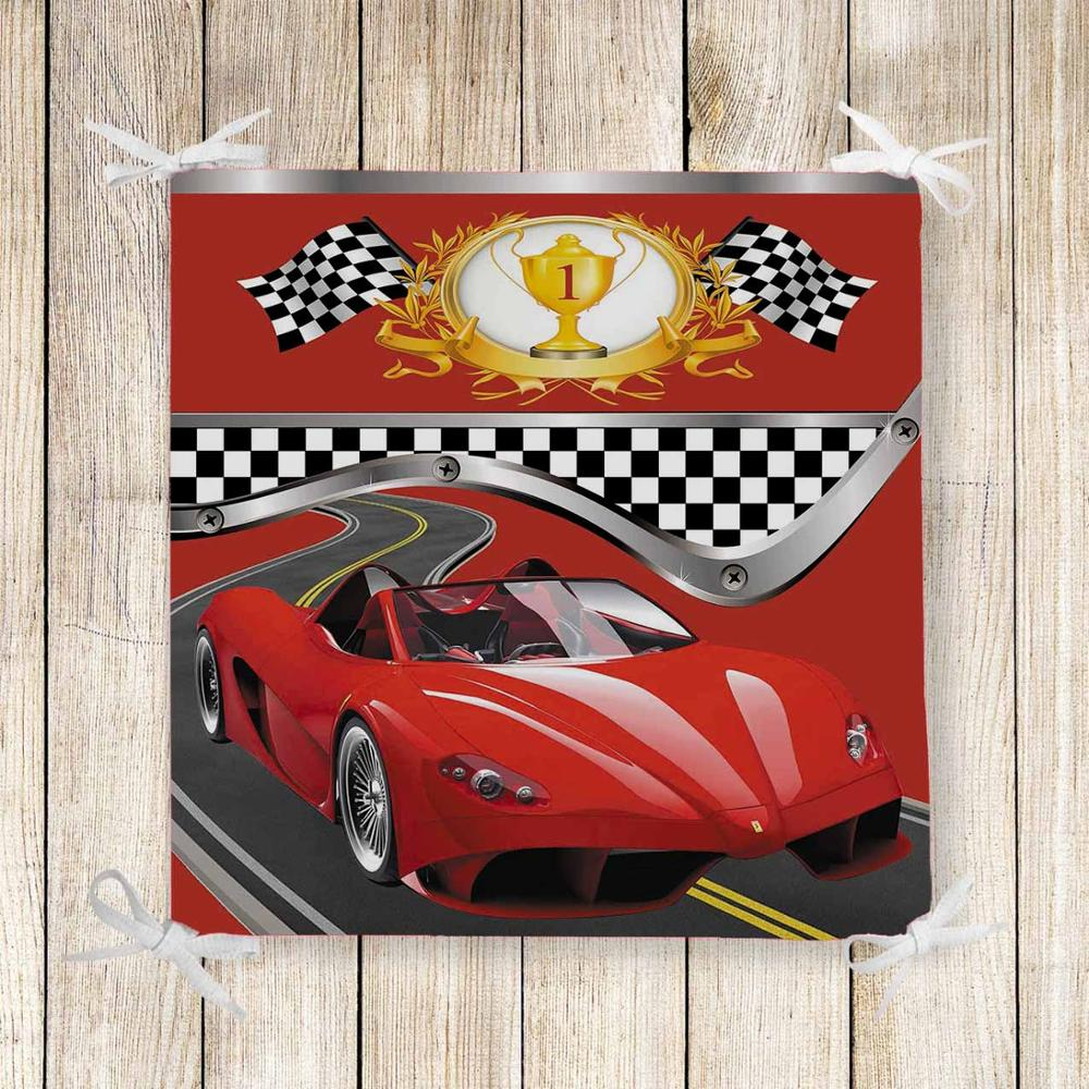 Else Red Race Sport Cars Yellow Cup Kids 3d Print Chair Pad Seat Cushion Soft Memory Foam Full Lenght Ties Non Slip Washable