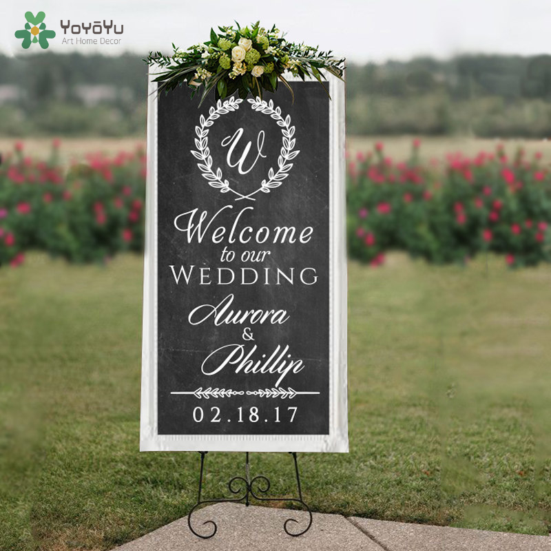 Personalized Welcome to Our Wedding Welcome Sign Decal for Wedding Decor Prop Wall Decal Custom Vinyl Art Stickers DIY WW-406