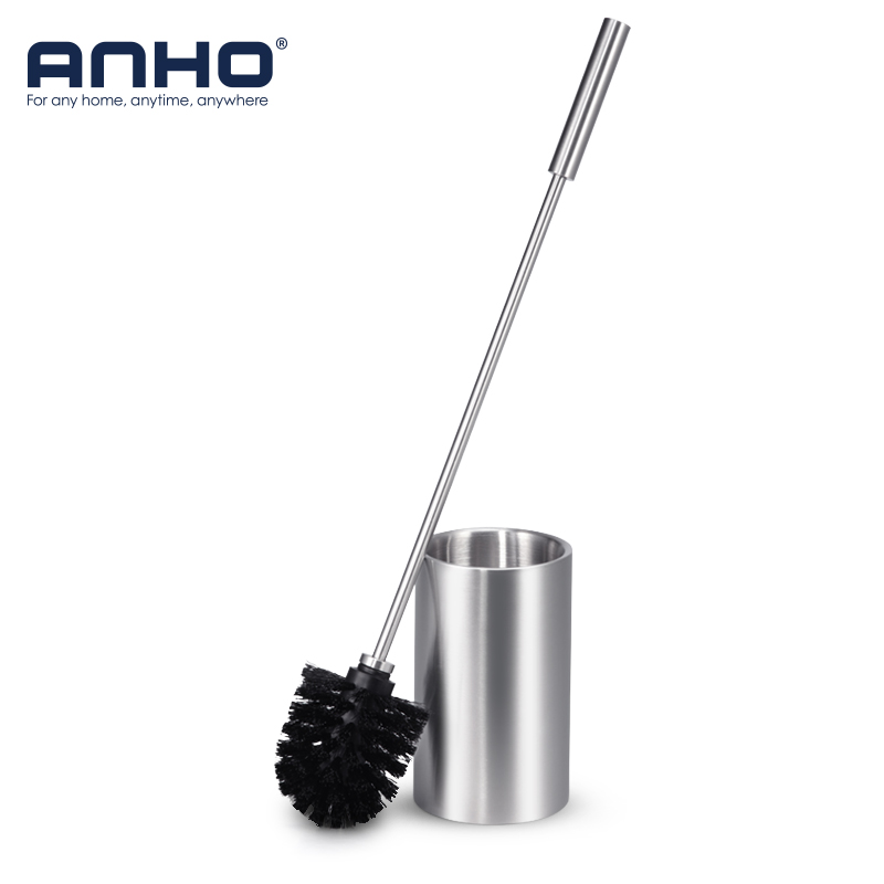 ANHO Long-handled Stainless Steel Toilet Brush Set Cleaning Brush with Base Plate Kit WC Bathroom Cleaning Accessories