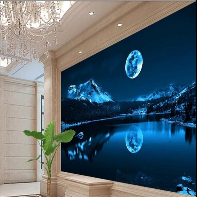 Custom 3d Wallpaper Beautiful Romantic Moon Lake Night Sky Modern Minimalist Wall Decoration Factory Wholesale