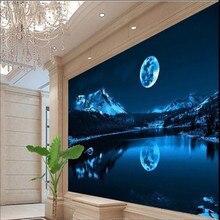 Custom 3d wallpaper beautiful romantic moon lake night sky modern minimalist wall decoration factory wholesale