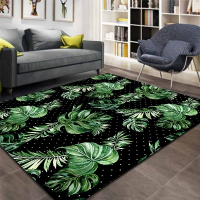 Else Black White Dots Tropical Green Leaves 3d Print Non Slip Microfiber Living Room Decorative Modern Washable Area Rug Mat