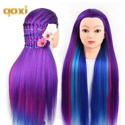 Qoxi cabezas de entrenamiento profesional con pelos largos gruesos práctica de peluquería maniquí muñecas estilo de cabello maniquí tete para la venta