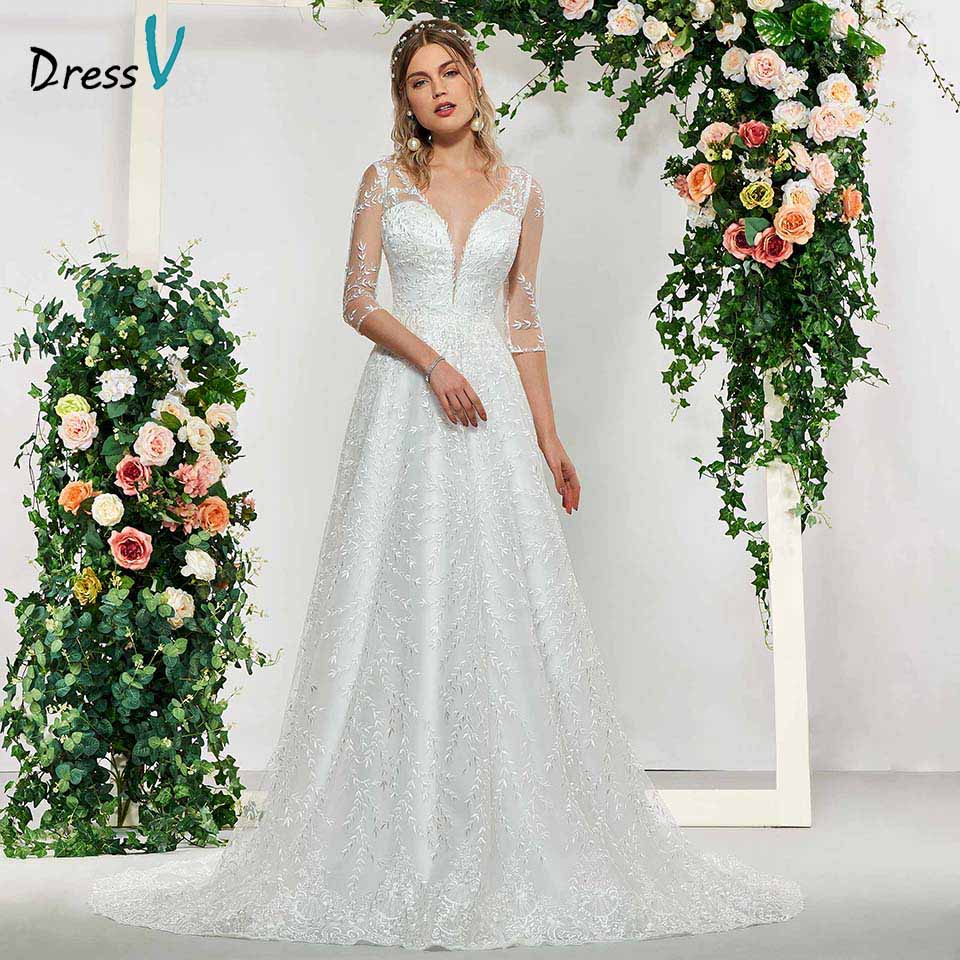 Dressv elegant ivory v neck button half sleeves lace a line wedding dress floor length simple bridal gowns wedding dress