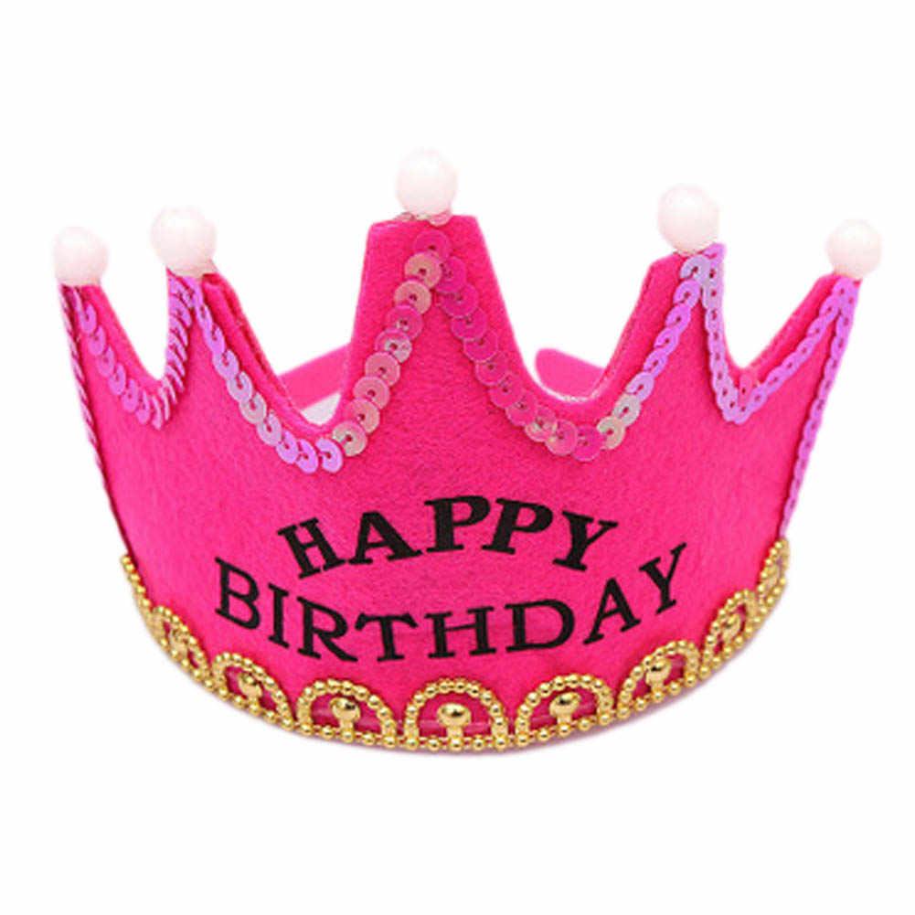 De alta Qualidade LEVOU Luz Festa de Aniversário Chapéus de Festa de Aniversário Da Princesa Da Coroa do Rei Tampas Para As Crianças