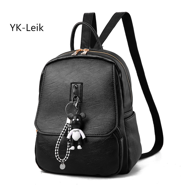 e9c805fb61 2017 fashion Korean women backpack with a bear pendant. High quality PU  leather retro backpacks College style school bag