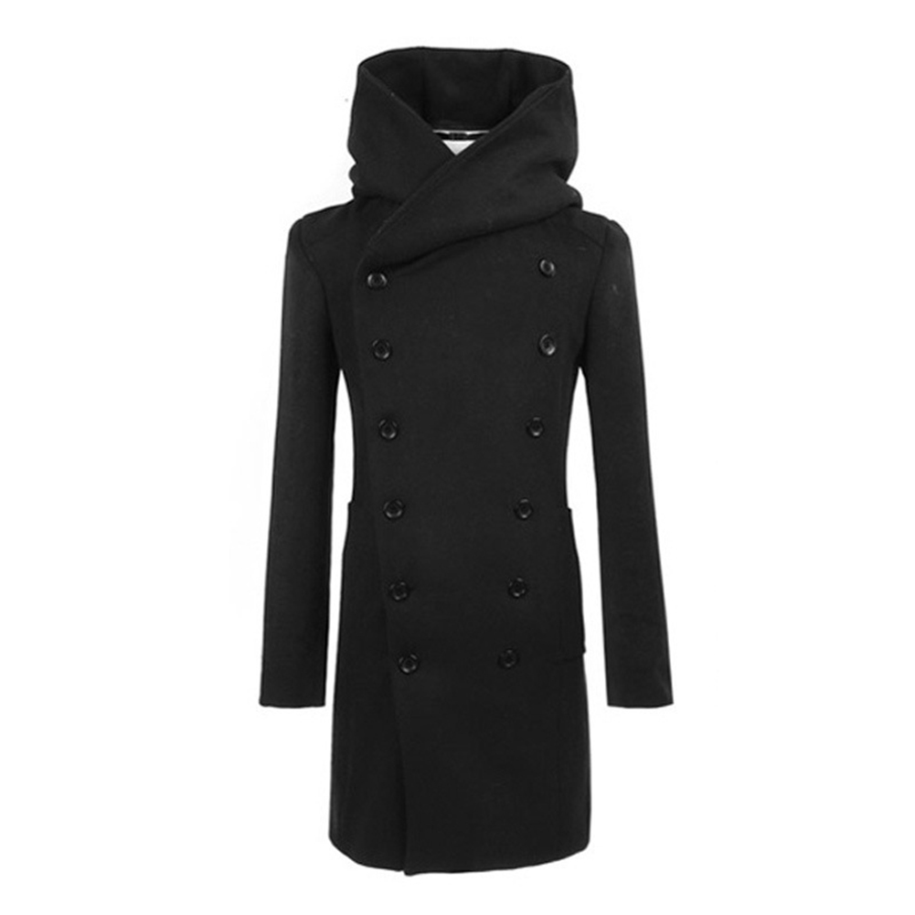 Winter Men Fashion Md-long Slim Double Breasted Hooded   Trench   Coat Warm Outwear