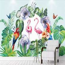 Tropical rainforest plant flamingo background wall paper mural manufacturer wholesale wallpaper custom photo