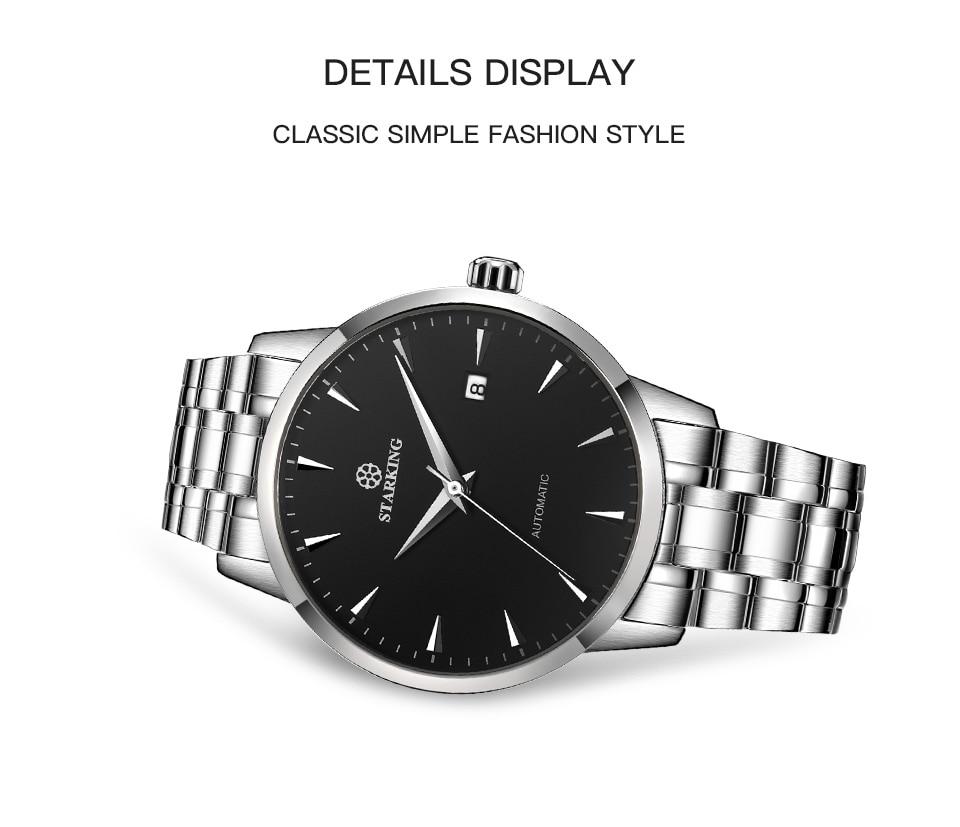 UTB8j48iNarFXKJk43Ovq6ybnpXaC STARKING Mens Clock Automatic Mechanical Watch All Stainless Steel Simple Business Male Watch xfcs Luxury Brand Dress WristWatch