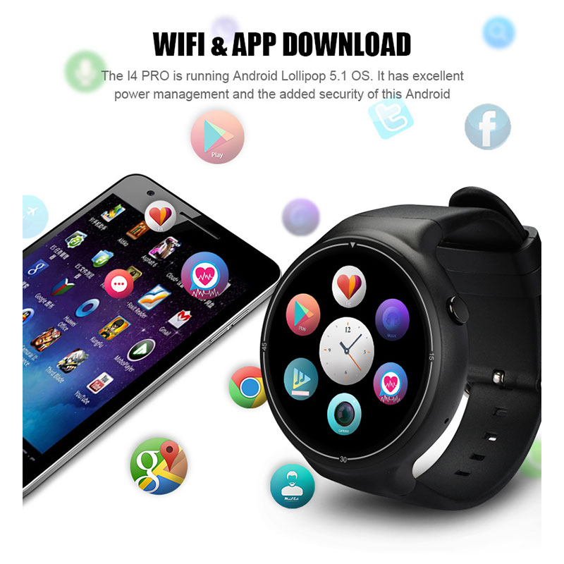 For/I4 Smart Watch Android 5.1 2GB+16GB 1.39 3G GPS Heart Rate Monitor Bluetooth Alarm Smartwatch For Android MTK6580 2017 smart baby watch q60s детские часы с gps голубые