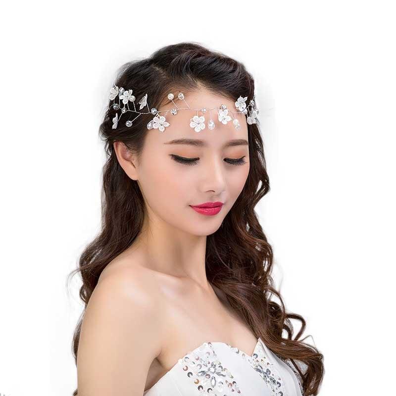 Luxury Tiara De Noiva Wedding Hair Accessories Handmade Lace Flower Headbands Bridal Floral Hairbands Crown Women Hair Jewelry