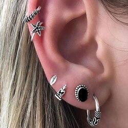 6Pcs/Set Bohemian Star Leaf Alloy Ear Stud Earrings Women Jewelry Gift